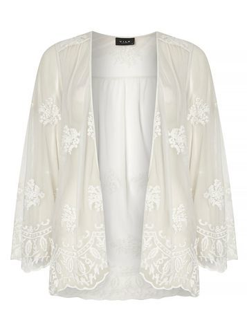 Womens **Vila White Embroidered Kimono White - neckline: collarless open; style: open front; predominant colour: ivory/cream; occasions: evening, holiday; length: standard; fibres: polyester/polyamide - 100%; fit: loose; sleeve length: long sleeve; sleeve style: standard; pattern type: fabric; pattern size: standard; pattern: florals; texture group: other - light to midweight; embellishment: embroidered; season: s/s 2016; wardrobe: highlight
