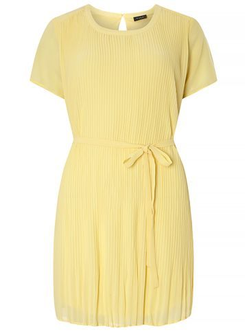 Womens **Vila Pink Chiffon Dress Pink - style: shift; length: mid thigh; pattern: plain; waist detail: belted waist/tie at waist/drawstring; predominant colour: primrose yellow; occasions: casual; fit: body skimming; fibres: polyester/polyamide - 100%; neckline: crew; sleeve length: short sleeve; sleeve style: standard; texture group: sheer fabrics/chiffon/organza etc.; pattern type: fabric; season: s/s 2016; wardrobe: highlight