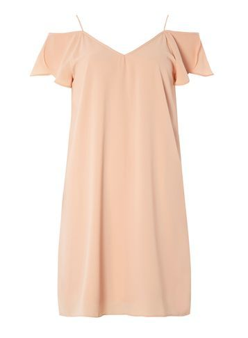 Womens **Vila Pink Cold Shoulder Dress Pink - length: mid thigh; neckline: off the shoulder; sleeve style: spaghetti straps; fit: loose; pattern: plain; predominant colour: nude; occasions: evening, occasion; style: slip dress; fibres: polyester/polyamide - 100%; sleeve length: sleeveless; pattern type: fabric; texture group: other - light to midweight; season: s/s 2016; wardrobe: event