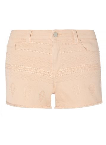Womens **Vila Peach Embroidered Shorts Pink - pattern: plain; waist: mid/regular rise; predominant colour: nude; occasions: casual, holiday; fibres: cotton - stretch; texture group: denim; pattern type: fabric; season: s/s 2016; style: shorts; length: short shorts; fit: slim leg; wardrobe: holiday