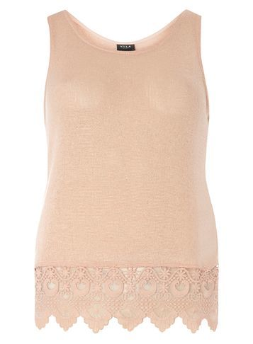 Womens **Vila Peach Crochet Vest Top Pink - neckline: round neck; pattern: plain; sleeve style: sleeveless; style: vest top; predominant colour: nude; occasions: casual; length: standard; fibres: polyester/polyamide - 100%; fit: body skimming; sleeve length: sleeveless; pattern type: fabric; texture group: other - light to midweight; embellishment: lace; season: s/s 2016; wardrobe: highlight
