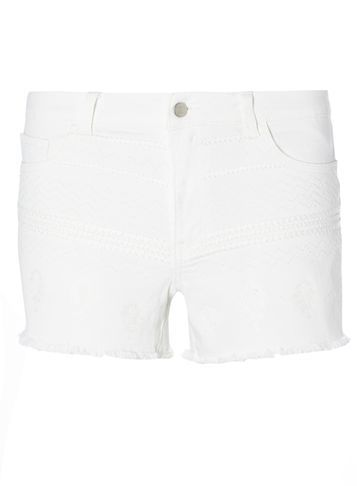 Womens **Vila White Embroidered Shorts White - pattern: plain; waist: low rise; pocket detail: traditional 5 pocket; predominant colour: white; occasions: casual, holiday; fibres: polyester/polyamide - 100%; texture group: denim; pattern type: fabric; pattern size: standard (bottom); season: s/s 2016; style: denim; length: short shorts; fit: slim leg; wardrobe: holiday