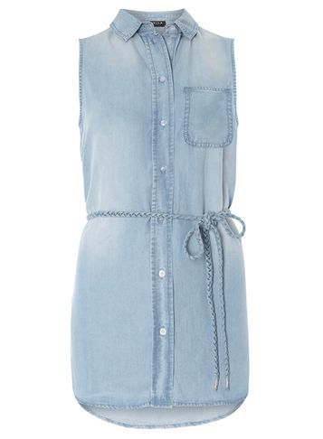 Womens **Vila Chambray Denim Shirt Blue - neckline: shirt collar/peter pan/zip with opening; pattern: plain; sleeve style: sleeveless; length: below the bottom; style: shirt; waist detail: belted waist/tie at waist/drawstring; predominant colour: pale blue; occasions: casual; fibres: polyester/polyamide - 100%; fit: body skimming; sleeve length: sleeveless; texture group: denim; bust detail: bulky details at bust; pattern type: fabric; season: s/s 2016; wardrobe: basic