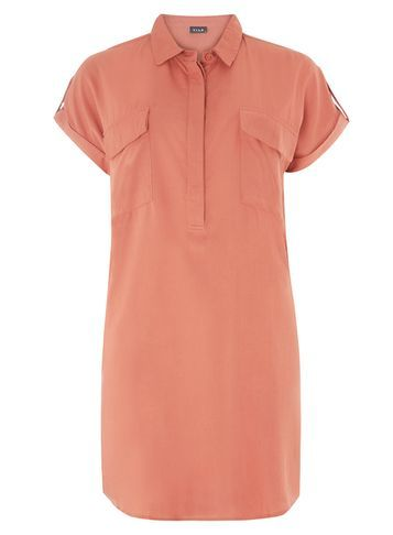Womens **Vila Rust Dress Red - style: shirt; neckline: shirt collar/peter pan/zip with opening; pattern: plain; bust detail: pocket detail at bust; predominant colour: coral; occasions: casual; length: just above the knee; fit: body skimming; fibres: polyester/polyamide - 100%; sleeve length: short sleeve; sleeve style: standard; pattern type: fabric; texture group: other - light to midweight; season: s/s 2016; wardrobe: highlight