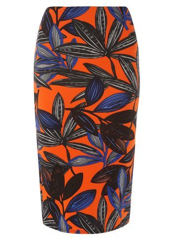 Womens Orange Lily Pencil Skirt Orange - style: pencil; fit: body skimming; waist: mid/regular rise; predominant colour: bright orange; secondary colour: charcoal; occasions: evening; length: on the knee; fibres: polyester/polyamide - stretch; pattern type: fabric; pattern: florals; texture group: jersey - stretchy/drapey; multicoloured: multicoloured; season: s/s 2016; wardrobe: event