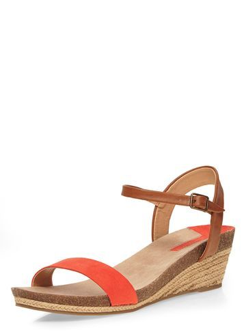 Womens Orange 'vesta' Low Wedges Orange - predominant colour: bright orange; secondary colour: tan; occasions: casual, holiday; material: faux leather; heel height: mid; ankle detail: ankle strap; heel: wedge; toe: open toe/peeptoe; style: strappy; finish: plain; pattern: plain; season: s/s 2016; wardrobe: highlight