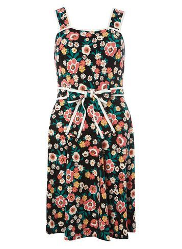 Womens Black Retro Floral Sundress Black - sleeve style: sleeveless; style: sundress; neckline: sweetheart; waist detail: belted waist/tie at waist/drawstring; secondary colour: pink; predominant colour: black; occasions: evening; length: just above the knee; fit: body skimming; fibres: cotton - stretch; sleeve length: sleeveless; pattern type: fabric; pattern size: big & busy; pattern: florals; texture group: jersey - stretchy/drapey; multicoloured: multicoloured; season: s/s 2016