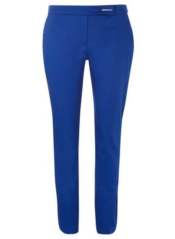 Womens **Tall Cobalt Cotton Cropped Trousers Cobalt - pattern: plain; waist: mid/regular rise; predominant colour: royal blue; length: ankle length; fibres: cotton - 100%; waist detail: feature waist detail; texture group: cotton feel fabrics; fit: slim leg; pattern type: fabric; style: standard; occasions: creative work; season: s/s 2016; wardrobe: highlight