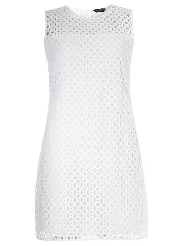 Womens Ivory Shift Broderie Dress White - style: shift; length: mid thigh; fit: tailored/fitted; pattern: plain; sleeve style: sleeveless; predominant colour: white; occasions: casual, occasion, creative work; fibres: cotton - 100%; neckline: crew; sleeve length: sleeveless; texture group: cotton feel fabrics; pattern type: fabric; season: s/s 2016; wardrobe: basic