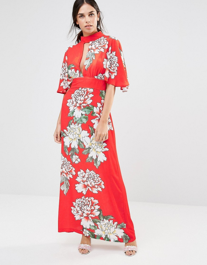 High Neck Maxi Dress In Floral Print Red - fit: fitted at waist; style: maxi dress; neckline: high neck; length: ankle length; predominant colour: true red; secondary colour: true red; fibres: polyester/polyamide - 100%; occasions: occasion; sleeve length: half sleeve; sleeve style: standard; pattern type: fabric; pattern size: big & busy; pattern: florals; texture group: other - light to midweight; multicoloured: multicoloured; season: s/s 2016; wardrobe: event