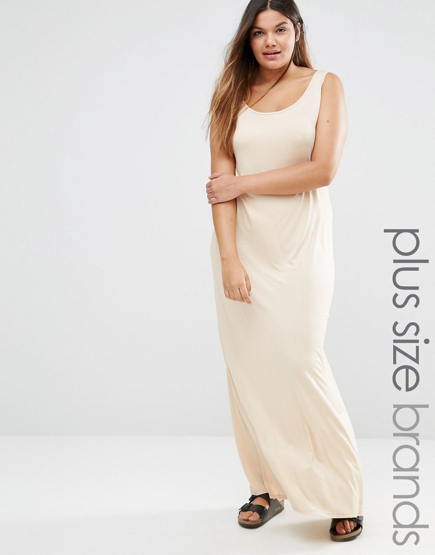 Jersey Maxi Dress Beige - pattern: plain; sleeve style: sleeveless; style: maxi dress; predominant colour: ivory/cream; occasions: casual; length: floor length; fit: body skimming; neckline: scoop; fibres: viscose/rayon - stretch; sleeve length: sleeveless; pattern type: fabric; texture group: jersey - stretchy/drapey; season: s/s 2016; wardrobe: basic