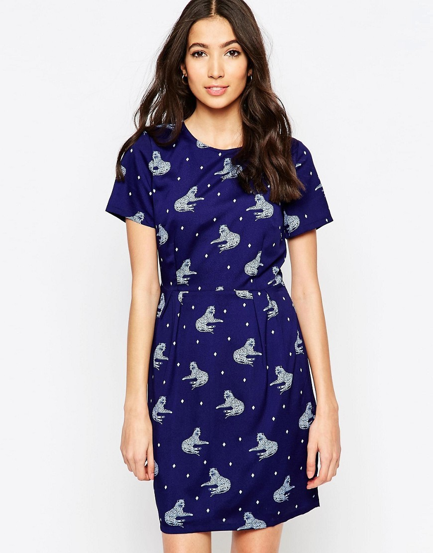 Betsy Lying Leopard Dress Navy - style: shift; waist detail: belted waist/tie at waist/drawstring; predominant colour: navy; secondary colour: light grey; occasions: evening; length: just above the knee; fit: body skimming; fibres: polyester/polyamide - 100%; neckline: crew; sleeve length: short sleeve; sleeve style: standard; pattern type: fabric; pattern: patterned/print; texture group: other - light to midweight; season: s/s 2016; wardrobe: event