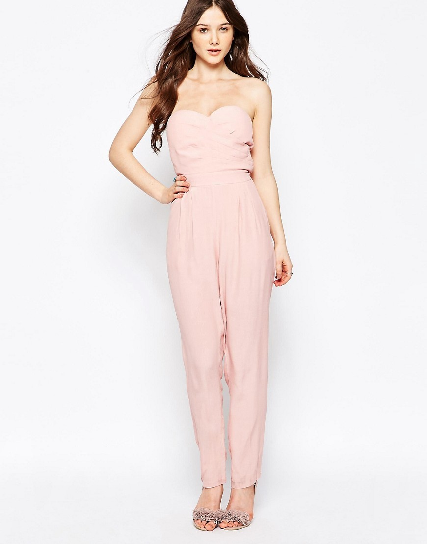 Bandeau Jumpsuit Pink - length: standard; neckline: strapless (straight/sweetheart); pattern: plain; sleeve style: strapless; hip detail: fitted at hip; predominant colour: blush; occasions: evening; fit: body skimming; sleeve length: sleeveless; style: jumpsuit; pattern type: fabric; texture group: woven light midweight; fibres: viscose/rayon - mix; season: s/s 2016; wardrobe: event