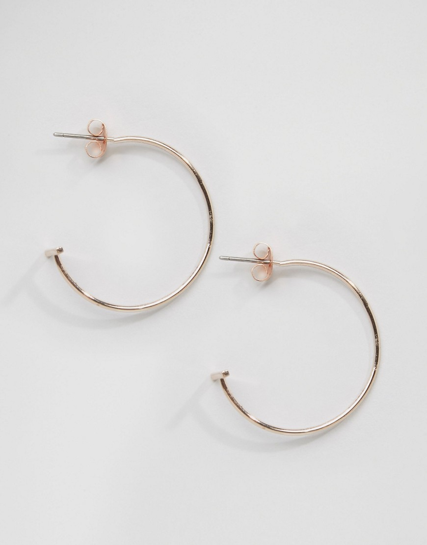 Fine Hoop Bar Earrings Rose Gold - predominant colour: gold; occasions: evening, creative work; style: hoop; length: mid; size: standard; material: chain/metal; fastening: pierced; finish: metallic; season: s/s 2016; wardrobe: basic
