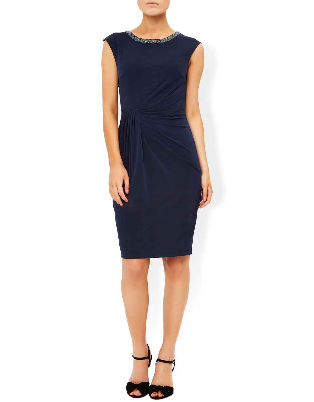 Brigita Embellished Neckline Dress - style: shift; sleeve style: capped; pattern: plain; waist detail: flattering waist detail; hip detail: draws attention to hips; predominant colour: navy; secondary colour: silver; occasions: evening, occasion; length: just above the knee; fit: body skimming; fibres: polyester/polyamide - stretch; neckline: crew; sleeve length: sleeveless; texture group: jersey - clingy; pattern type: fabric; embellishment: beading; season: s/s 2016; wardrobe: event