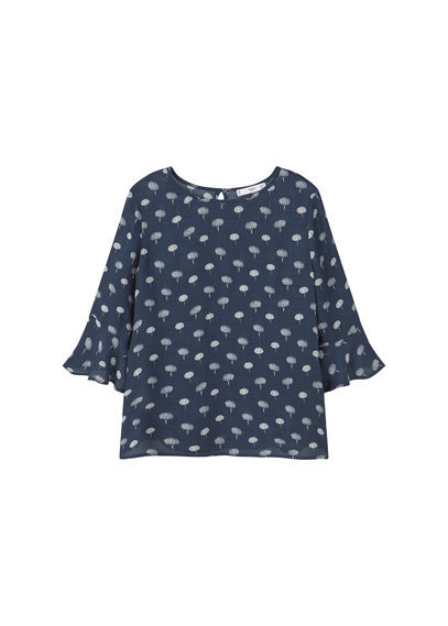 Flowy Printed Blouse - neckline: round neck; style: blouse; predominant colour: navy; secondary colour: light grey; occasions: casual, creative work; length: standard; fibres: viscose/rayon - 100%; fit: straight cut; sleeve length: half sleeve; sleeve style: standard; pattern type: fabric; pattern: patterned/print; texture group: other - light to midweight; pattern size: big & busy (top); season: s/s 2016; wardrobe: highlight