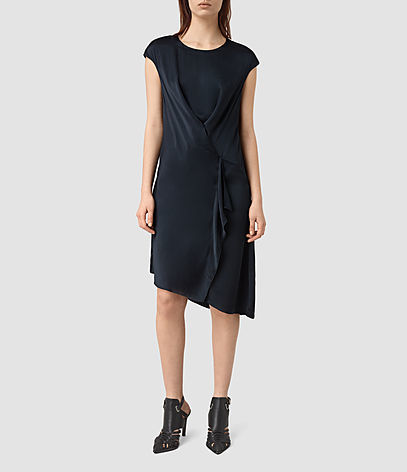 Breeze Dress - sleeve style: capped; pattern: plain; bust detail: subtle bust detail; predominant colour: navy; occasions: evening; length: on the knee; fit: body skimming; style: asymmetric (hem); fibres: silk - 100%; neckline: crew; sleeve length: short sleeve; pattern type: fabric; texture group: jersey - stretchy/drapey; season: s/s 2016; wardrobe: event