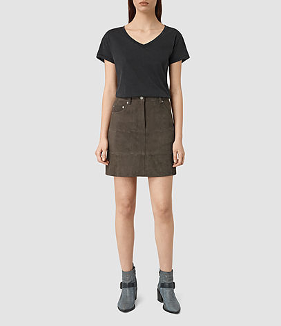 Routledge Suede Skirt - length: mid thigh; pattern: plain; fit: body skimming; waist: mid/regular rise; predominant colour: chocolate brown; occasions: casual; style: mini skirt; fibres: leather - 100%; pattern type: fabric; texture group: suede; season: s/s 2016