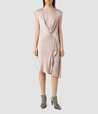 Breeze Dress - length: calf length; sleeve style: capped; pattern: plain; bust detail: subtle bust detail; predominant colour: blush; occasions: evening; fit: body skimming; style: asymmetric (hem); fibres: silk - 100%; neckline: crew; sleeve length: short sleeve; pattern type: fabric; texture group: jersey - stretchy/drapey; season: s/s 2016; wardrobe: event