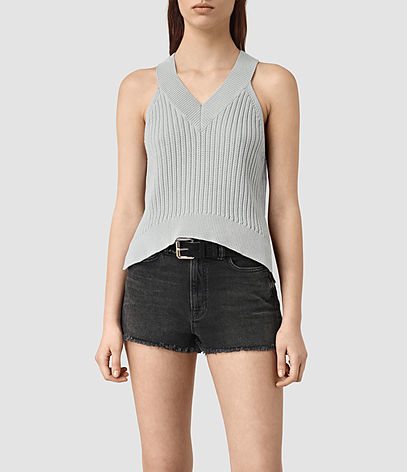 Manson Cropped Vest - neckline: v-neck; pattern: plain; sleeve style: sleeveless; style: vest top; predominant colour: light grey; occasions: casual; length: standard; fibres: cotton - 100%; fit: body skimming; sleeve length: sleeveless; pattern type: fabric; texture group: jersey - stretchy/drapey; season: s/s 2016; wardrobe: basic