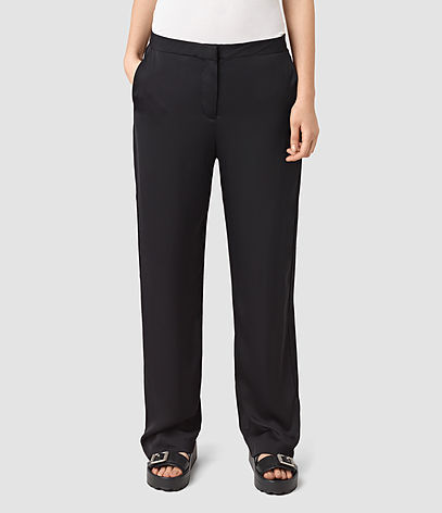Ivana Trouser - length: standard; pattern: plain; waist: mid/regular rise; predominant colour: black; occasions: casual; fibres: viscose/rayon - 100%; fit: wide leg; pattern type: fabric; texture group: other - light to midweight; style: standard; season: s/s 2016; wardrobe: basic