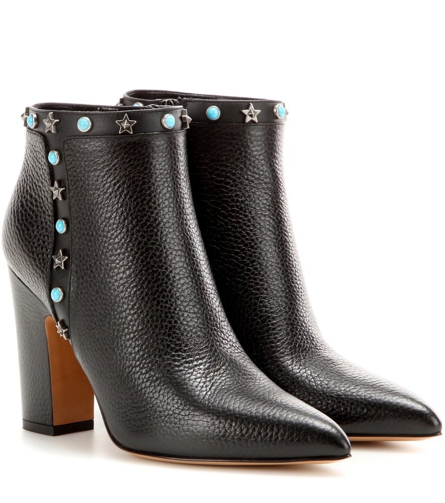 Garavani Starstudded Leather Ankle Boots - predominant colour: black; occasions: casual, creative work; material: leather; heel height: high; embellishment: jewels/stone; heel: block; toe: pointed toe; boot length: ankle boot; style: standard; finish: plain; pattern: plain; season: s/s 2016; wardrobe: highlight