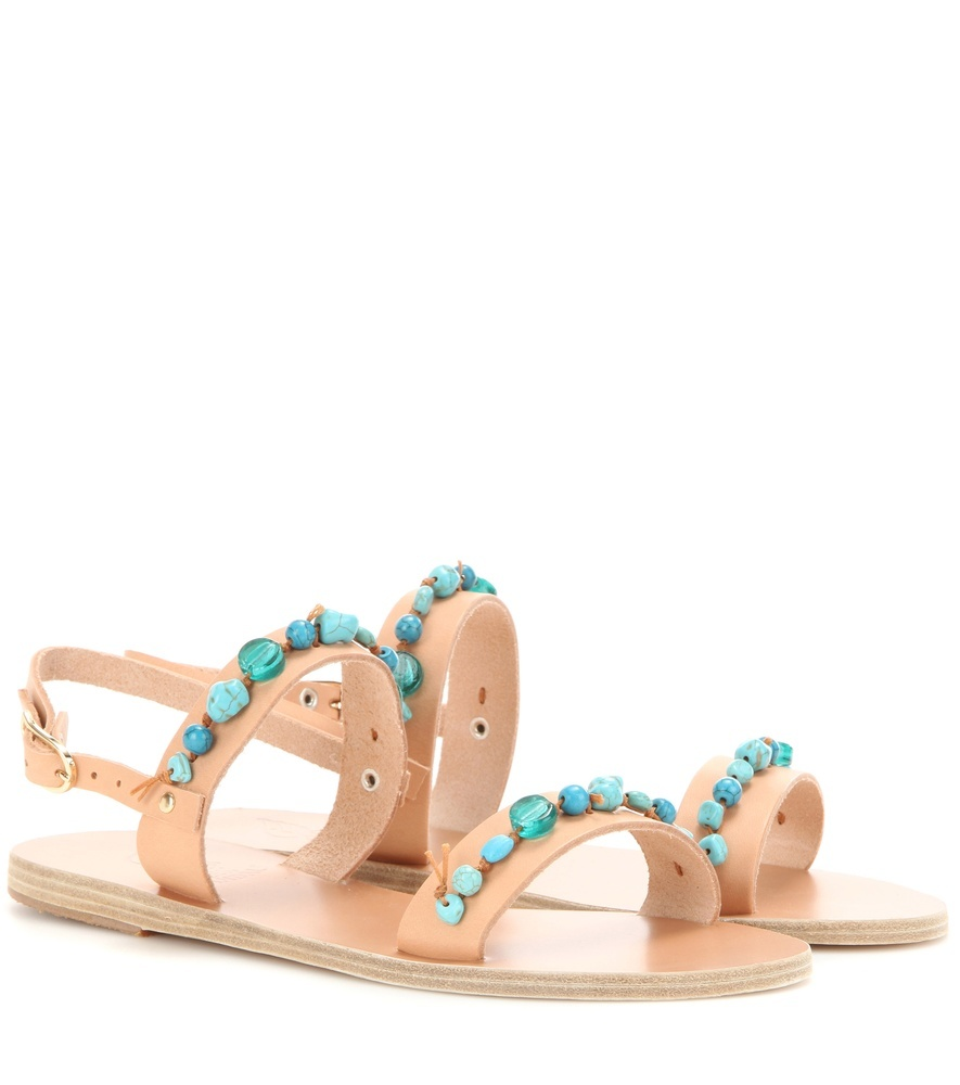 Clio Stones Leather Sandals - secondary colour: turquoise; predominant colour: nude; occasions: casual, holiday; material: leather; heel height: flat; embellishment: jewels/stone; heel: block; toe: open toe/peeptoe; style: strappy; finish: plain; pattern: plain; season: s/s 2016; wardrobe: highlight