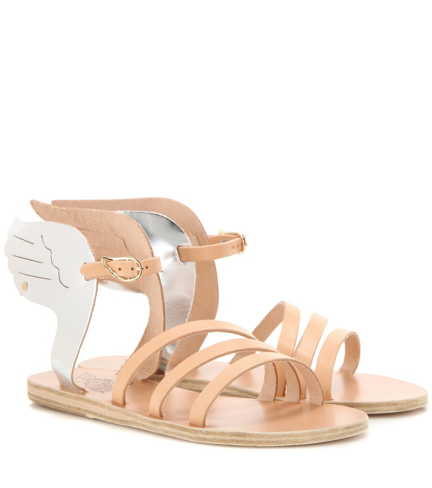 Ikaria Metallic Leather Sandals - secondary colour: white; predominant colour: nude; occasions: casual, holiday; material: leather; heel height: flat; ankle detail: ankle strap; heel: block; toe: open toe/peeptoe; style: strappy; finish: plain; pattern: plain; season: s/s 2016