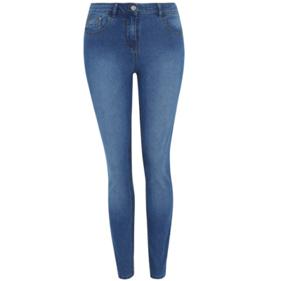 Skinny Jeans Mid Wash Denim - style: skinny leg; length: standard; pattern: plain; pocket detail: traditional 5 pocket; waist: mid/regular rise; predominant colour: diva blue; occasions: casual; fibres: cotton - stretch; texture group: denim; pattern type: fabric; season: s/s 2016; wardrobe: highlight