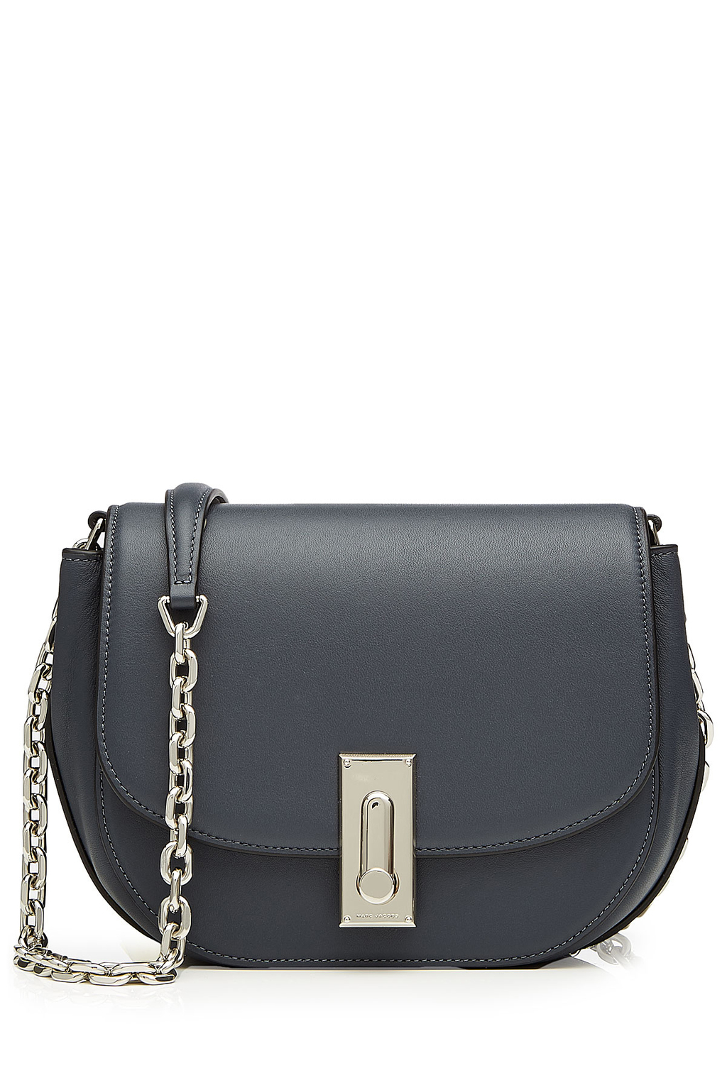 West End Leather Saddle Bag Grey - predominant colour: charcoal; occasions: casual; type of pattern: standard; style: messenger; length: across body/long; size: small; material: leather; pattern: plain; finish: plain; embellishment: chain/metal; season: s/s 2016; wardrobe: highlight
