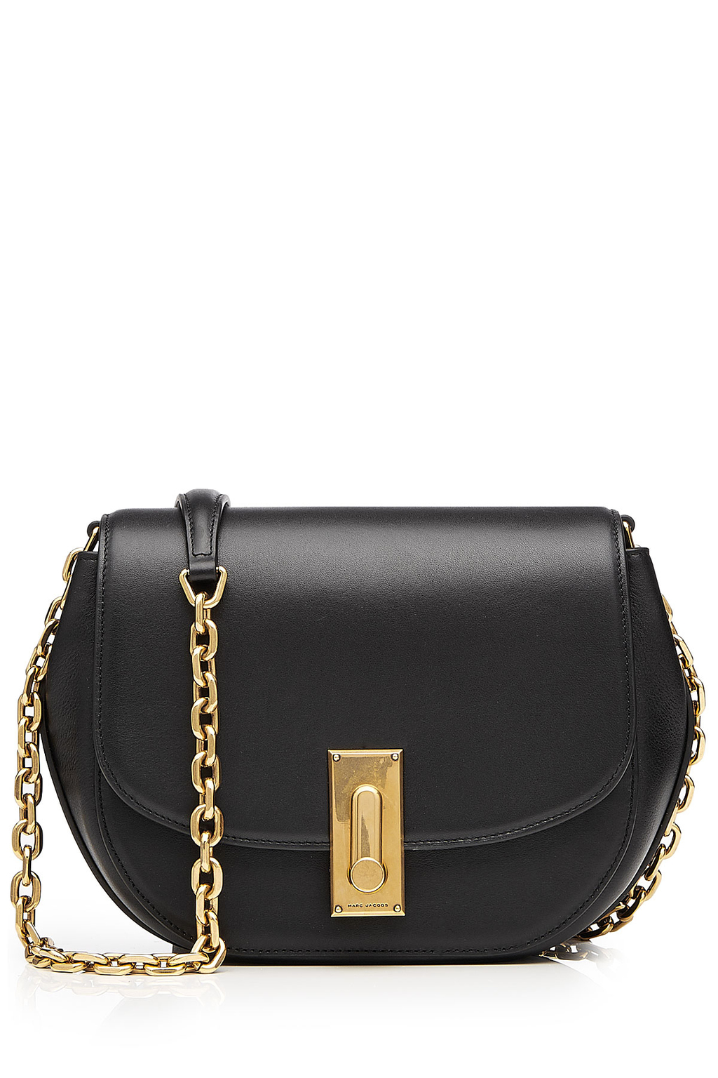 West End Leather Saddle Bag Black - secondary colour: gold; predominant colour: black; occasions: casual; type of pattern: standard; style: messenger; length: across body/long; size: small; material: leather; pattern: plain; finish: plain; embellishment: chain/metal; season: s/s 2016; wardrobe: highlight