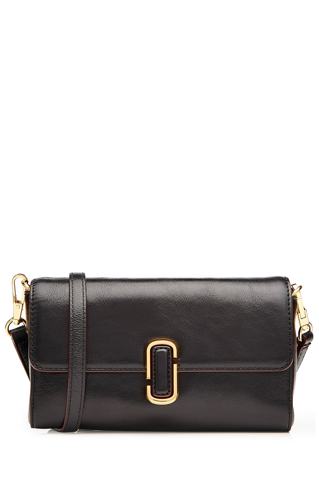 Leather Shoulder Bag With Contrast Trim Black - secondary colour: gold; predominant colour: black; occasions: casual, creative work; type of pattern: standard; style: shoulder; length: shoulder (tucks under arm); size: standard; material: leather; pattern: plain; finish: plain; season: s/s 2016; wardrobe: investment