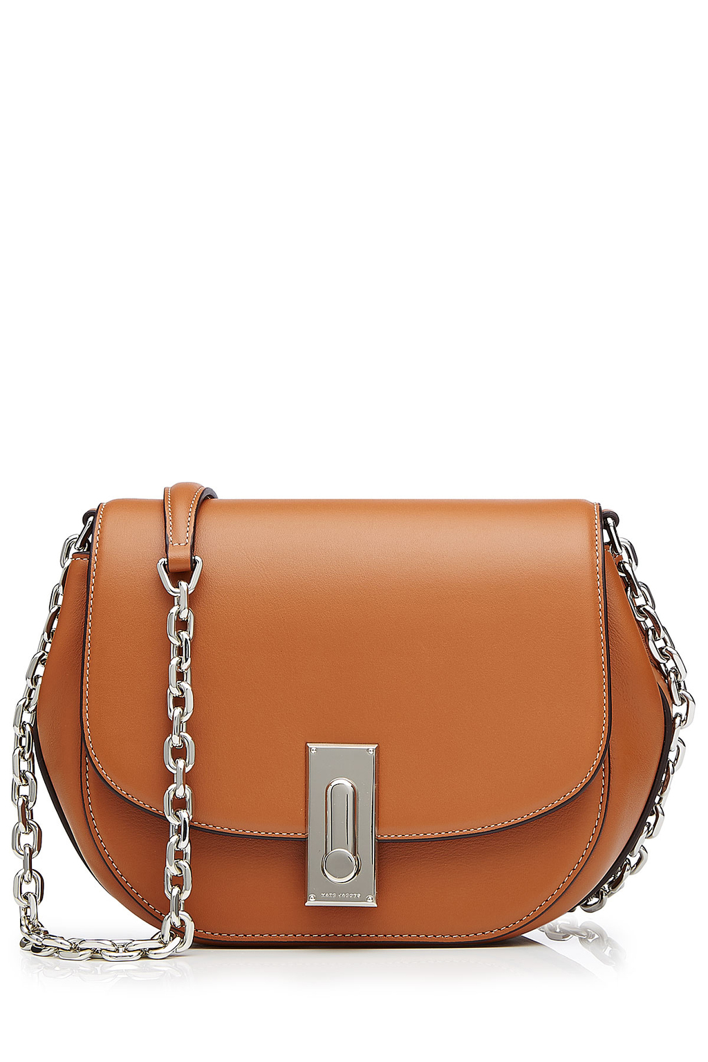 West End Leather Saddle Bag Brown - predominant colour: tan; secondary colour: silver; occasions: casual, creative work; type of pattern: standard; style: saddle; length: across body/long; size: standard; material: leather; pattern: plain; finish: plain; embellishment: chain/metal; season: s/s 2016; wardrobe: highlight