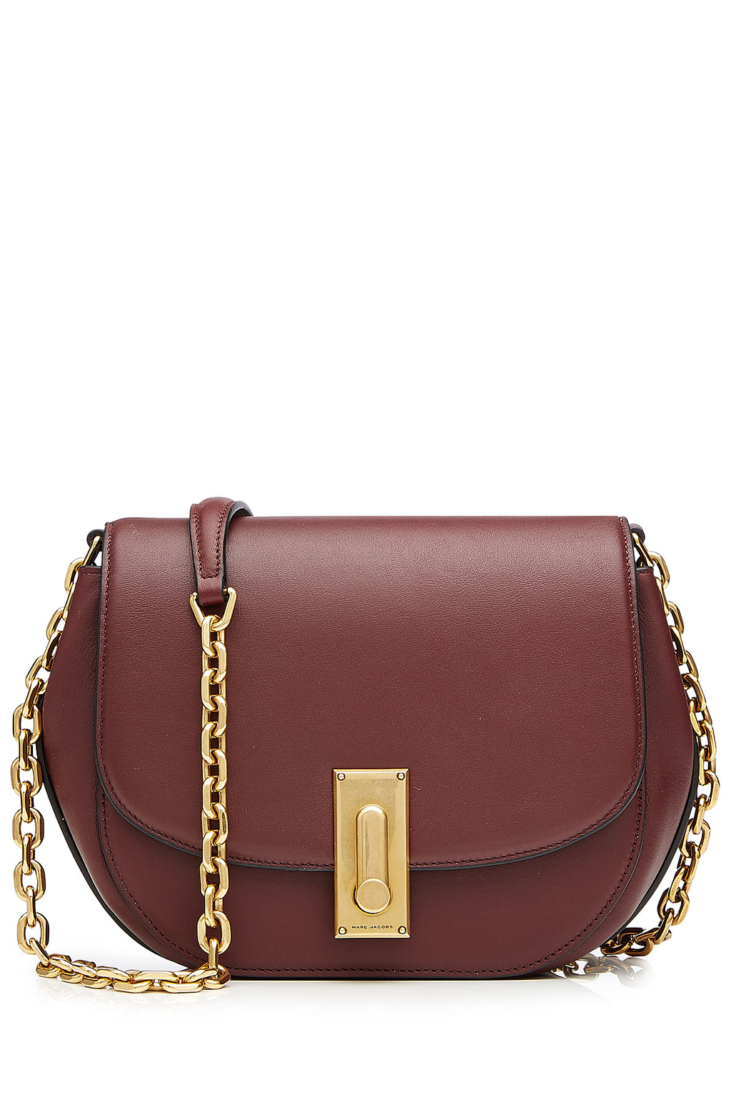 West End Leather Saddle Bag Red - predominant colour: burgundy; secondary colour: gold; occasions: casual, creative work; type of pattern: standard; style: saddle; length: across body/long; size: standard; material: leather; pattern: plain; finish: plain; embellishment: chain/metal; season: s/s 2016
