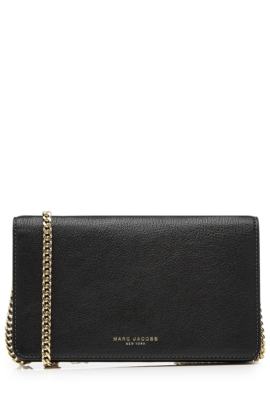 Leather Perry Wallet On Chain Black - predominant colour: black; occasions: casual, creative work; type of pattern: standard; style: shoulder; length: shoulder (tucks under arm); size: standard; material: leather; pattern: plain; finish: plain; season: s/s 2016; wardrobe: investment