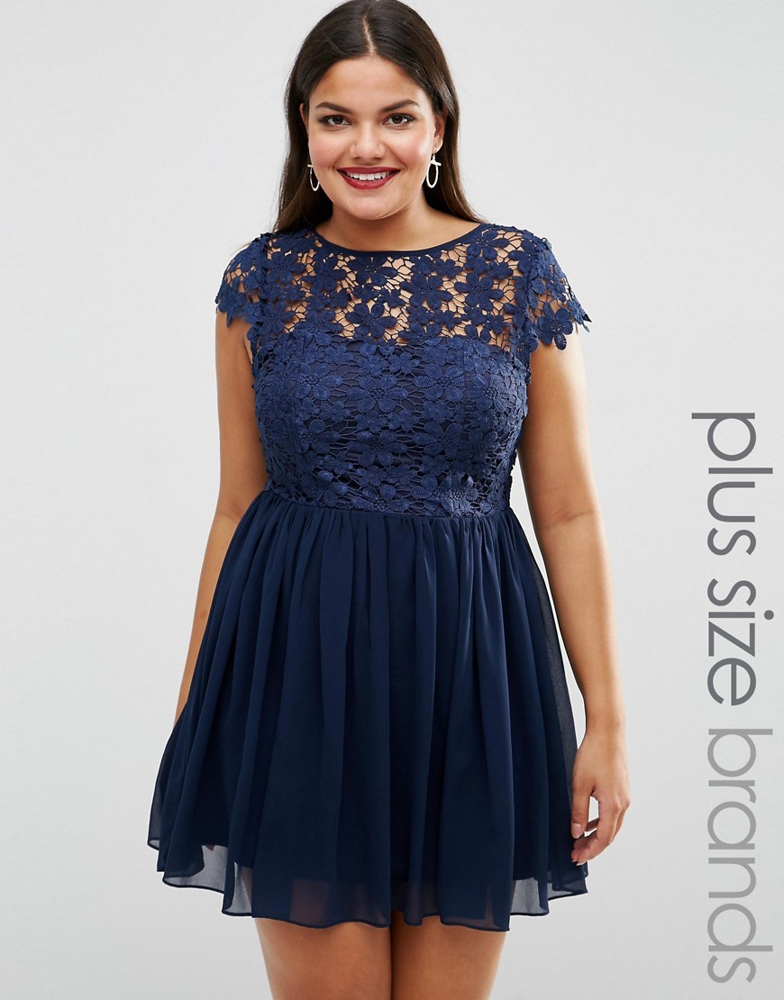 Plus Skater Dress With Crochet Top Navy - length: mid thigh; sleeve style: capped; bust detail: sheer at bust; predominant colour: navy; occasions: evening; fit: fitted at waist & bust; style: fit & flare; fibres: polyester/polyamide - 100%; neckline: crew; sleeve length: short sleeve; texture group: lace; pattern type: fabric; pattern: patterned/print; season: s/s 2016; wardrobe: event