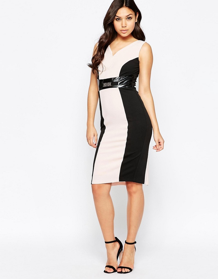 Valentina Pencil Dress With Contrast Panels Pink/Black - neckline: low v-neck; fit: tight; sleeve style: sleeveless; style: bodycon; secondary colour: ivory/cream; predominant colour: black; length: on the knee; fibres: polyester/polyamide - stretch; occasions: occasion; sleeve length: sleeveless; texture group: jersey - clingy; pattern type: fabric; pattern: colourblock; season: s/s 2016; wardrobe: event