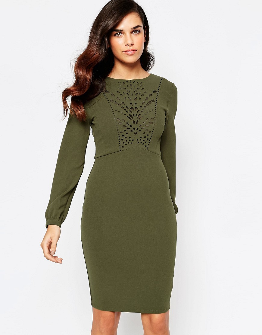 Taylor Lasercut Dress With Low Back Khaki - fit: tight; pattern: plain; style: bodycon; predominant colour: khaki; occasions: evening; length: on the knee; fibres: polyester/polyamide - stretch; neckline: crew; sleeve length: long sleeve; sleeve style: standard; texture group: jersey - clingy; pattern type: fabric; season: s/s 2016; wardrobe: event