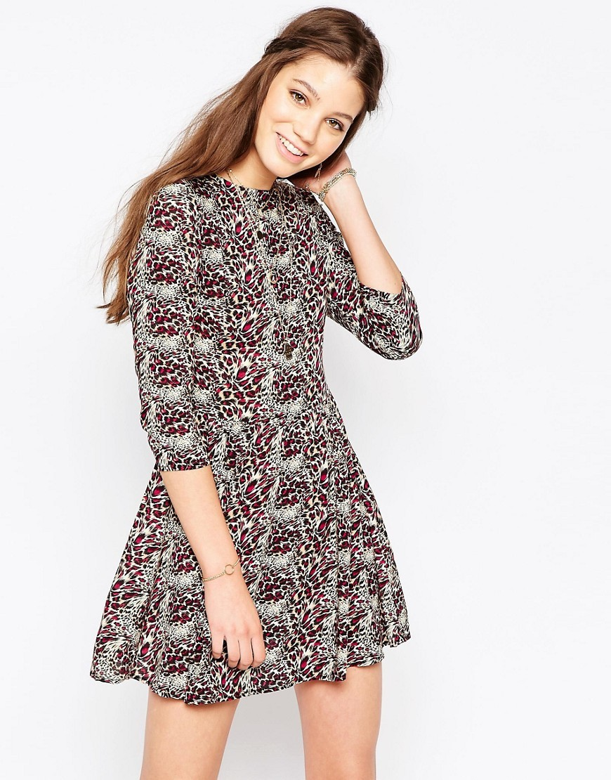 Ditsy Print Long Sleeve Skater Dress Sand/Pink Leopard - length: mini; secondary colour: light grey; occasions: casual; fit: fitted at waist & bust; style: fit & flare; fibres: viscose/rayon - 100%; neckline: crew; sleeve length: 3/4 length; sleeve style: standard; pattern type: fabric; pattern: patterned/print; texture group: jersey - stretchy/drapey; predominant colour: raspberry; season: s/s 2016; wardrobe: highlight