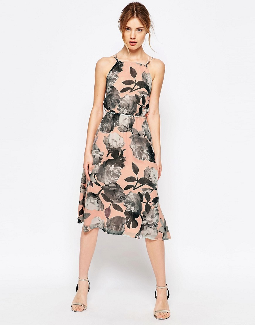 Cherry Blossom Strappy Halter Dress Nude - length: below the knee; neckline: high square neck; sleeve style: spaghetti straps; waist detail: fitted waist; predominant colour: nude; secondary colour: charcoal; occasions: evening, occasion; fit: fitted at waist & bust; style: fit & flare; fibres: polyester/polyamide - 100%; hip detail: subtle/flattering hip detail; sleeve length: sleeveless; texture group: sheer fabrics/chiffon/organza etc.; pattern type: fabric; pattern size: big & busy; pattern: florals; season: s/s 2016; wardrobe: event