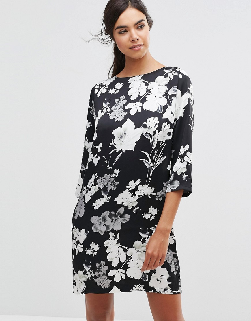 Kika Floral Dress 2146826246 - style: shift; secondary colour: white; predominant colour: black; occasions: evening; length: just above the knee; fit: body skimming; fibres: polyester/polyamide - 100%; neckline: crew; sleeve length: 3/4 length; sleeve style: standard; pattern type: fabric; pattern size: big & busy; pattern: florals; texture group: other - light to midweight; season: s/s 2016; wardrobe: event