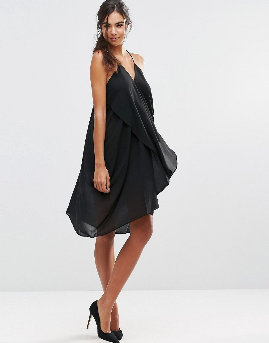 Karola Cami Dress 2146826246 - neckline: v-neck; sleeve style: spaghetti straps; fit: loose; pattern: plain; predominant colour: black; occasions: evening; length: just above the knee; style: slip dress; fibres: polyester/polyamide - 100%; sleeve length: sleeveless; texture group: sheer fabrics/chiffon/organza etc.; pattern type: fabric; season: s/s 2016; wardrobe: event