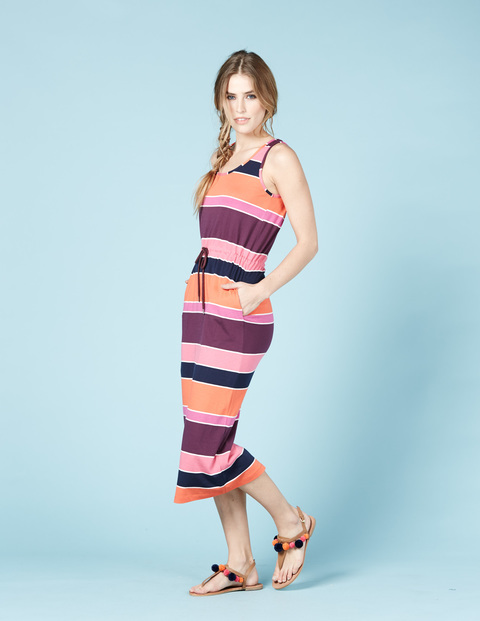Easy Drawstring Dress Pink Stripe Women, Pink Stripe - length: calf length; neckline: round neck; pattern: horizontal stripes; sleeve style: sleeveless; style: sundress; secondary colour: aubergine; predominant colour: coral; occasions: casual; fit: body skimming; fibres: cotton - mix; sleeve length: sleeveless; pattern type: fabric; texture group: jersey - stretchy/drapey; multicoloured: multicoloured; season: s/s 2016; wardrobe: highlight