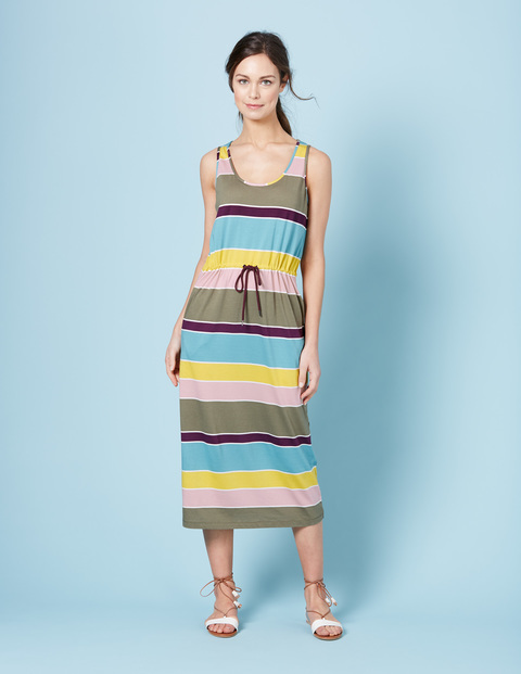 Easy Drawstring Dress Multi Stripe Women, Multi Stripe - neckline: round neck; pattern: horizontal stripes; sleeve style: sleeveless; style: maxi dress; length: ankle length; secondary colour: diva blue; predominant colour: khaki; occasions: casual, holiday; fit: body skimming; fibres: cotton - mix; sleeve length: sleeveless; pattern type: fabric; pattern size: standard; texture group: jersey - stretchy/drapey; multicoloured: multicoloured; season: s/s 2016; wardrobe: highlight