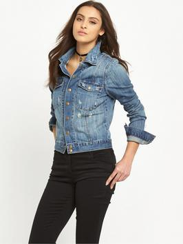 Soft Denim Jacket With Poppers - pattern: plain; style: denim; fit: slim fit; predominant colour: denim; occasions: casual; length: standard; fibres: cotton - 100%; collar: shirt collar/peter pan/zip with opening; sleeve length: long sleeve; sleeve style: standard; texture group: denim; collar break: high/illusion of break when open; pattern type: fabric; season: s/s 2016; wardrobe: basic