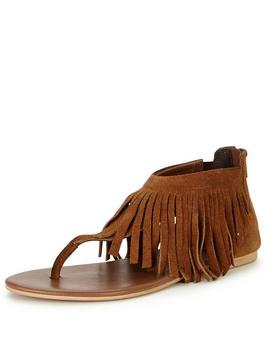Victory Fringed Toe Post Sandal - predominant colour: tan; occasions: casual, holiday; material: suede; heel height: flat; ankle detail: ankle strap; heel: block; toe: toe thongs; style: strappy; finish: plain; pattern: plain; embellishment: fringing; season: s/s 2016; trends: riviera chic; wardrobe: highlight