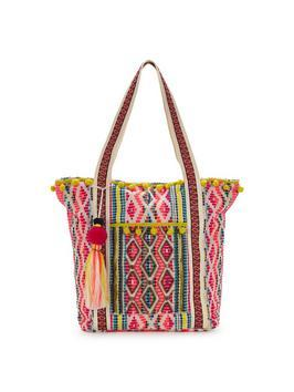 Pom Pom Detail Beach Bag - predominant colour: true red; secondary colour: yellow; occasions: casual; type of pattern: standard; style: tote; length: shoulder (tucks under arm); size: standard; material: fabric; embellishment: tassels; finish: plain; pattern: patterned/print; multicoloured: multicoloured; season: s/s 2016; wardrobe: highlight