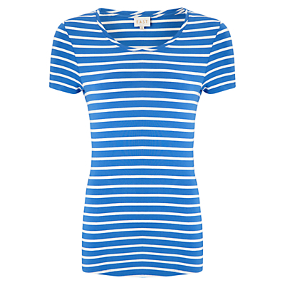 Stripe Basic T Shirt - pattern: horizontal stripes; style: t-shirt; secondary colour: white; predominant colour: diva blue; occasions: casual, holiday; length: standard; fibres: viscose/rayon - stretch; fit: body skimming; neckline: crew; sleeve length: short sleeve; sleeve style: standard; pattern type: fabric; texture group: jersey - stretchy/drapey; pattern size: big & busy (top); season: s/s 2016