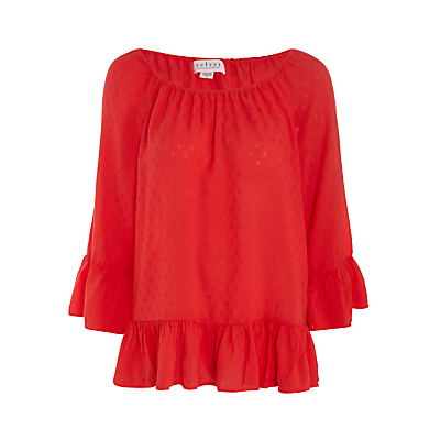 Jamarina Blouse - neckline: off the shoulder; sleeve style: bell sleeve; pattern: plain; style: blouse; bust detail: ruching/gathering/draping/layers/pintuck pleats at bust; predominant colour: true red; occasions: casual, creative work; length: standard; fibres: viscose/rayon - 100%; fit: body skimming; sleeve length: 3/4 length; hip detail: ruffles/tiers/tie detail at hip; pattern type: fabric; texture group: other - light to midweight; season: s/s 2016; wardrobe: highlight