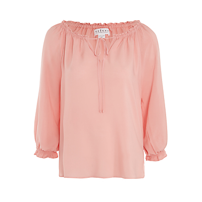 Kimberley Top - pattern: plain; sleeve style: balloon; predominant colour: blush; occasions: casual, creative work; length: standard; style: top; neckline: peep hole neckline; fibres: viscose/rayon - 100%; fit: body skimming; sleeve length: 3/4 length; pattern type: fabric; texture group: jersey - stretchy/drapey; season: s/s 2016; wardrobe: basic